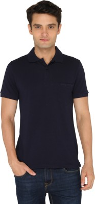 Chromozome Solid Men's Polo Neck Blue T-Shirt