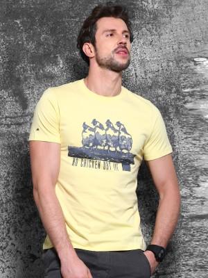 Wrogn Printed Men's Round Neck Yellow T-Shirt