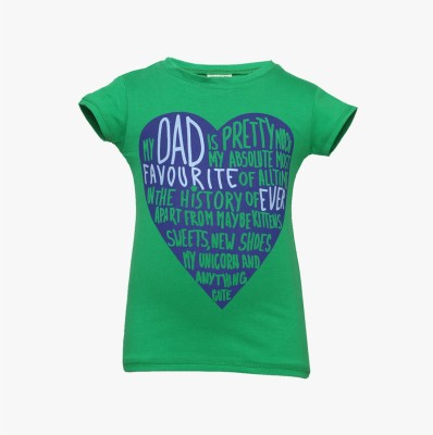Tales & Stories Graphic Print Girl's Round Neck Green T-Shirt