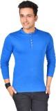 Buff Solid Men's Henley Blue T-Shirt