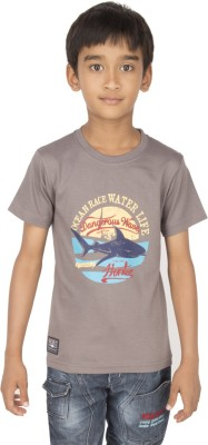 Ocean Race Printed Boy's Round Neck Brown T-Shirt