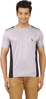 Wermin Solid Men's Round Neck Grey, Black T-Shirt