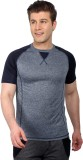 Fitz Solid Men's Round Neck Blue T-Shirt