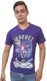 Port Blair Printed Men's V-neck Purple T...