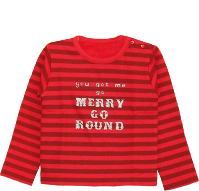 My Little Lambs Striped Baby Girl's Round Neck Red T-Shirt