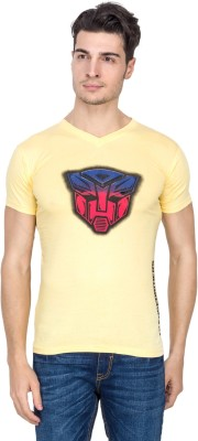 Vidyuth Traders Printed Men's V-neck Yellow T-Shirt