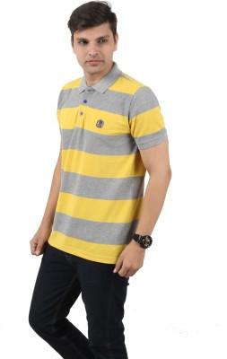 zing polowear Striped Men's Polo Grey, Yellow T-Shirt