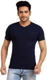 Goplay Solid Men's V-neck Blue T-Shirt