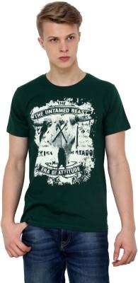 Era of Attitude Printed Men's Round Neck Green T-Shirt