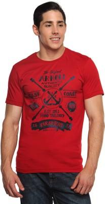 Arrow Sport Printed Men's Round Neck Red T-Shirt