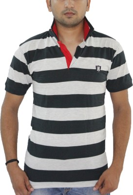 Grey Tree Striped Men,s Polo Neck Dark Green T-Shirt
