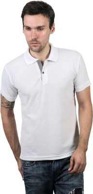 100Tees Solid Mens Polo Neck White T-Shirt