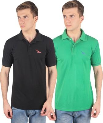 PRO Lapes Solid Men's Polo Neck Black, Green T-Shirt