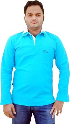 Khadi Natural Solid Men's Polo Neck Blue, White T-Shirt