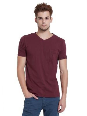 Breakbounce Solid Men's V-neck Maroon T-Shirt