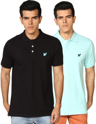 Provogue Solid Men's Polo Neck Green, Black T-Shirt
