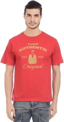Orange Plum Printed Men's Round Neck Red T-Shirt