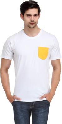 Happy Hippie Solid Men's Round Neck White T-Shirt