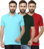 Youthen Solid Men's Polo Neck Green, Blu...