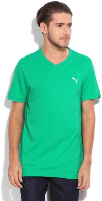 Puma Solid Men's V-neck Green T-Shirt