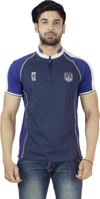 Petroficio Solid Men's Fashion Neck Dark Blue T-Shirt