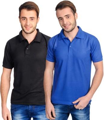 Superjoy Solid Men's Polo Neck Black, Blue T-Shirt