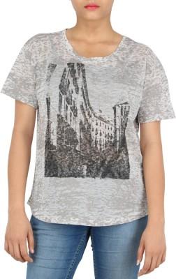 Download Apparel Printed Women,s Round Neck Grey, Black T-Shirt