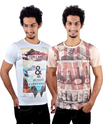 GreyBooze Graphic Print Men's Round Neck Multicolor T-Shirt