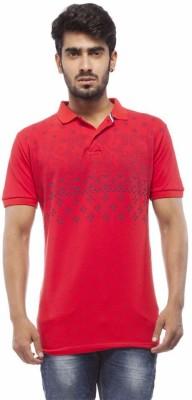 Trendy Bandey Printed Men's Peter Pan Collar Red T-Shirt