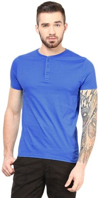 Gallop Solid Men's Henley Blue T-Shirt
