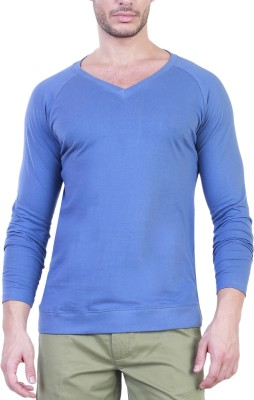 Unkonventional Solid Men's V-neck Light Blue T-Shirt