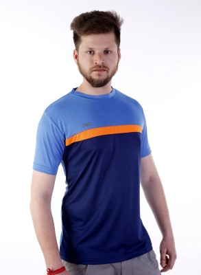 Zagros Solid Mens Round Neck Blue T-Shirt