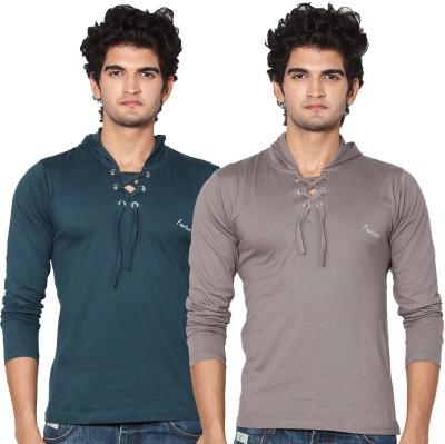 Amp Colors Solid Men's Hooded Grey, Dark Green T-Shirt
