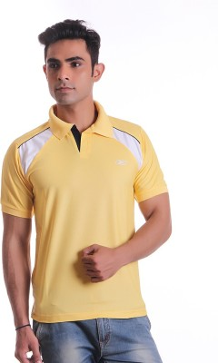 EX10 Solid Men,s Polo Neck Yellow T-Shirt