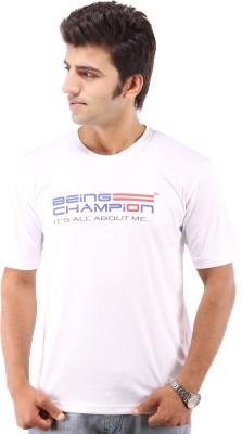 Being Champion Printed Men's Round Neck White T-Shirt