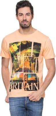 Zovi Printed Men's Round Neck Orange T-Shirt