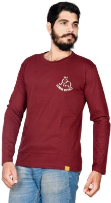 Indian Royal Solid, Embroidered Men's Round Neck Maroon T-Shirt