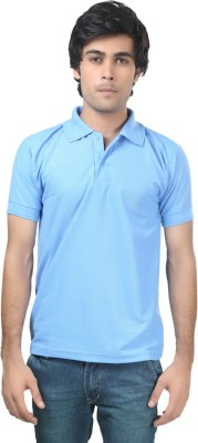 Trendy Trotters Solid Men's Polo Light Blue T-Shirt