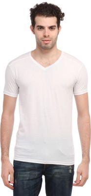 TEES COLLECTION Solid Men's V-neck White T-Shirt