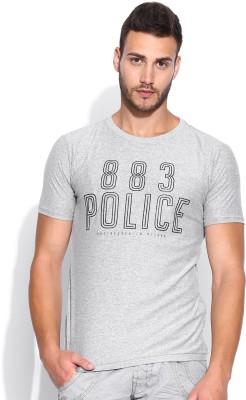 883 Police Graphic Print Men's Round Neck Grey T-Shirt