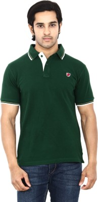 STACKIA Solid Men's Polo Neck Dark Green T-Shirt