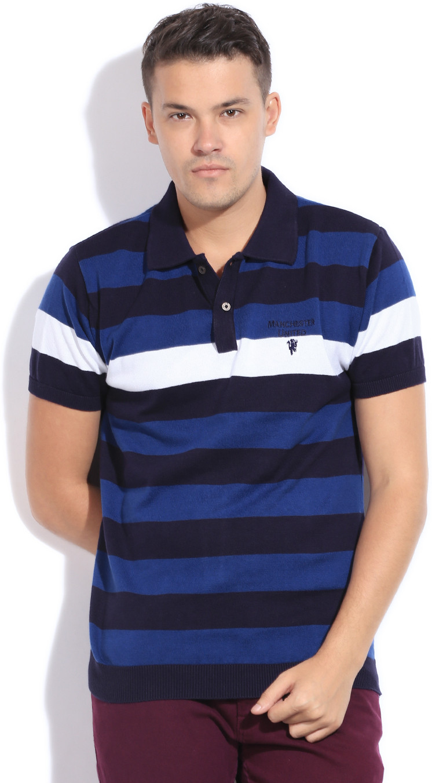 Manchester United Striped Men's Polo Neck Blue, White T-Shirt