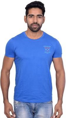 Being Dessi Solid Men's Round Neck Blue T-Shirt
