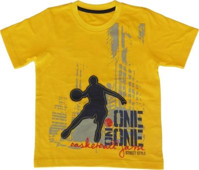 Joshua Tree Printed Boy's Round Neck Yellow T-Shirt
