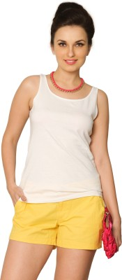 Miss Chase Solid Women's Round Neck White T-Shirt