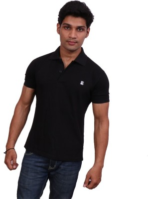 Leonardi Solid Men's Polo Neck Black T-Shirt