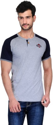 Ausy Solid Men's Round Neck Grey, Black T-Shirt