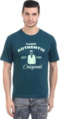 Orange Plum Printed Men's Round Neck Blue T-Shirt