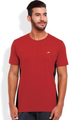 2go Solid Men's Round Neck Red, Black T-Shirt