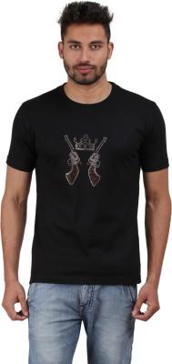 Xtees Self Design, Solid Men's Round Neck Black T-Shirt